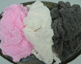 New Colors...Set of Three Cheesecloth Wraps ...Newborn Props...Baby Girl and Baby Boy Wraps...Newborn Cheesecloth Wraps