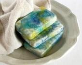 Caribbean Pineapple Soap, Felted Soap, Olive Oil Soap Cocoa Butter Soap Bath soap  Bar soap Blue Yellow Soap Handmade Soap Cold Process Soap