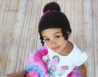 Princess Ballerina Bun Beanie CROCHET PATTERN instant download