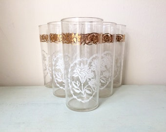 Vintage Floral Tumblers/ High Ball Glasses White and Gold