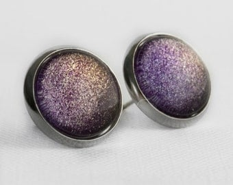 Stardust Post Earrings in Silver -Purple, Pink and Golden Yellow Color Shifting Shimmer Earrings