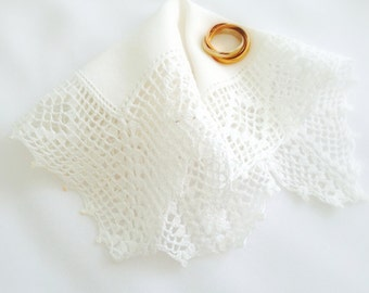 Vintage Handkerchief White Petite Crocheted Lace Cottage Charm Small Vintage Hanky  Flower Girl, Bridesmaid, 7 Inches