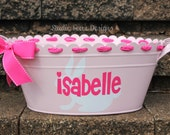 Personalized Scalloped Easterl Metal Tub  -  Assorted Colors Available