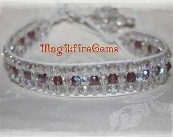 Crystal Clear and Amethyst Czech Crystal Bracelet