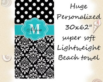 Teal Black Damask Dots Personalized Monogram Beach Towel