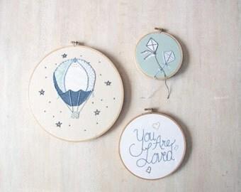 Custom Embroidery Hoop Set of Three Modern Nursery Wall Art Design your Own One of a Kind