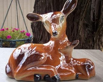 Large Ceramic Doe and Fawn Figurine   Large Deer Figurine  Large Woodland Doe and Fawn Figurine