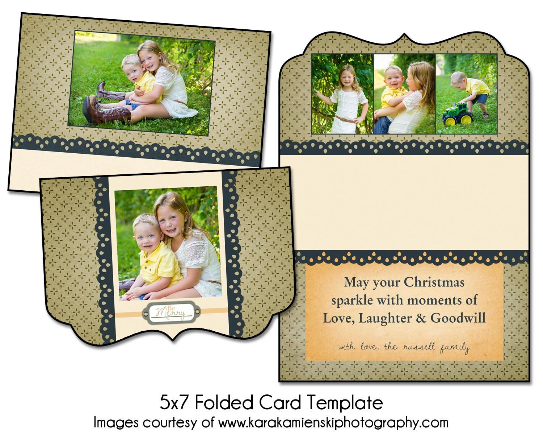 Christmas Card Template COUNTRY CHRISTMAS 5x7 Folded Card
