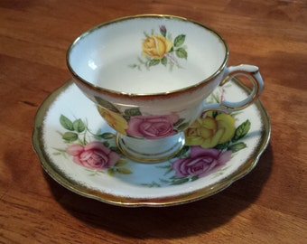 Vintage Clarence Bone China Tea Cup and Saucer