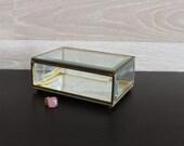 Vintage Glass Brass Trinket Case, Home Decor, Rectangle