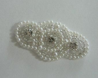 Pearl applique, crystal rhinestone applique, bridal Sash, diy Headband ,DIY wedding, DIY accessories  Model:DSCN2398
