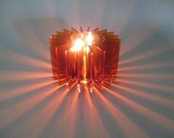 Vintage Orange Lucite Starburst Candle Holder --- Tea light --- Votive --- Mood Lighting