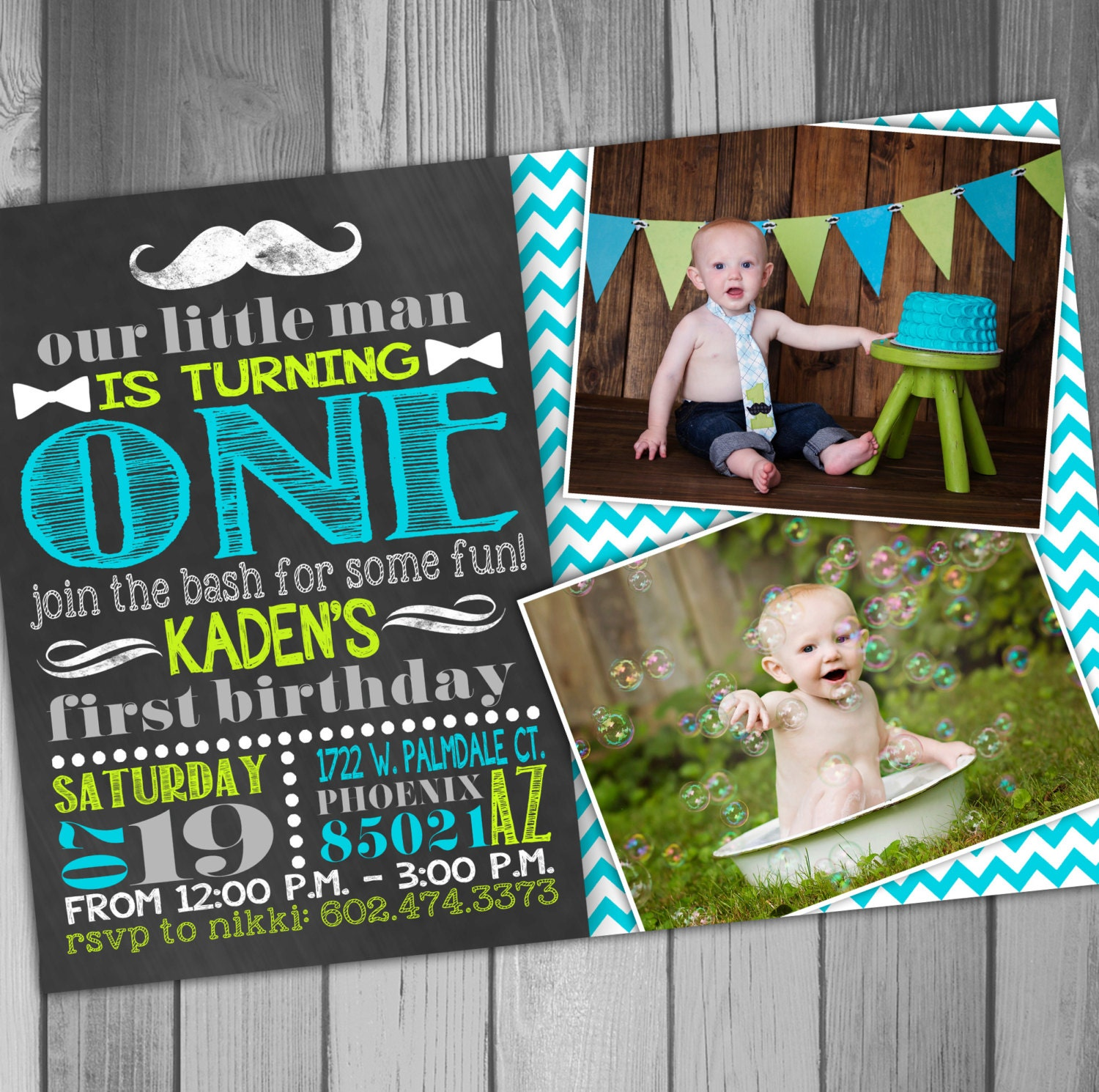 First Birthday Invitation Boy Birthday Baby Boy First Birthday
