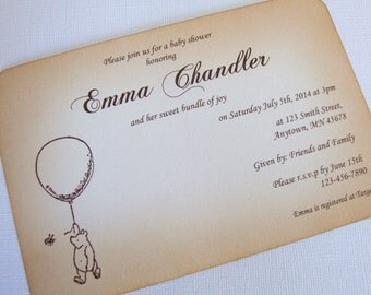 Winnie the Pooh Baby Shower Invitations, Set of 10, New Baby Boy or Girl, Neutral, Baby Shower Invite, Vintage Style, Choice of Fonts, 003-N