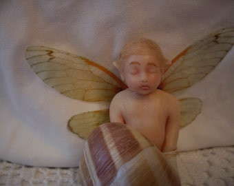 50% off - Spring cleaning -  OOAK Fairy in a Sea Shell Boat