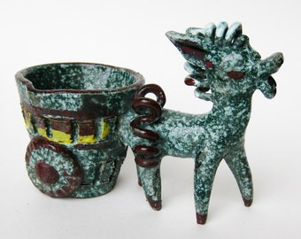 Vintage 50s Italian Gambone Era Ceramic Art Pottery Donkey & Cart Figurine Sculpture