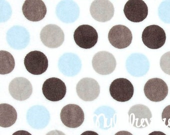 Minky fabric by the yard- Mod Dot cuddle minky Baby Blue, silver and charcoal grey- dot cuddle one yard