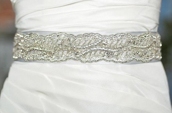 bridal dress sash belt silver by fancybowtiquebridal