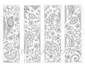 Printable Coloring Bookmarks, Paisley Zentangle Inspired Sheet 16