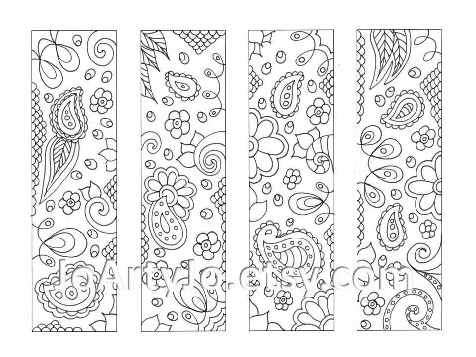 Printable Coloring Bookmarks Free : Printable coloring bookmarks paisley zentangle inspired sheet