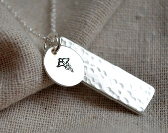Double Sided Medical Alert Necklace - Hand Stamped  - Customize - Personalize