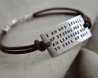 Personalized Quote Bracelet - Leather Cord