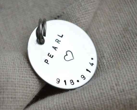 Stamped Dog Tag - Pet ID - Personalize with your own info