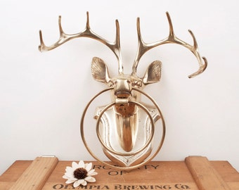 vintage brass deer head wall mounted decor with hanging rings