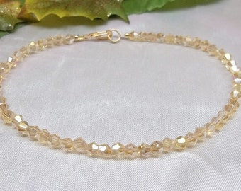 Topaz Ankle Bracelet Gold Crystal Anklet 14k Gold Filled Anklet 14k Gold Ankle Bracelet BuyAny3+Get1 Free