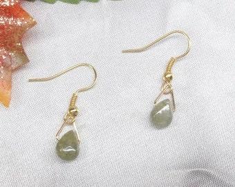 14kt Gold Earrings 14kt Green Garnet Earrings Teardrop Earrings 14k Gold Filled Dangle Earrings Ball Post BuyAny3+1 Free