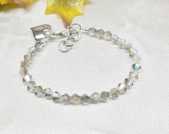 Silver AB Crystal Bracelet Girls Bracelet Toddler Baby Bracelet Gray Bracelet Adjustable Bracelet Sterling Silver or Plate BuyAny3+Get1 Free