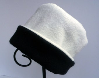 Ivory and Black Fleece Hat, Roll Brim Hat, Soft and Warm Hat, Ivory and Black Hat, Fleece Hat