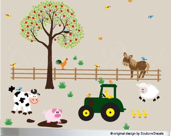 Tractor cow pig sheep ducks rooster tree fence horse grass wall decal set