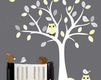 Grey and Yellow wall decal childrens vinyl wall art owl tree decal - 0240