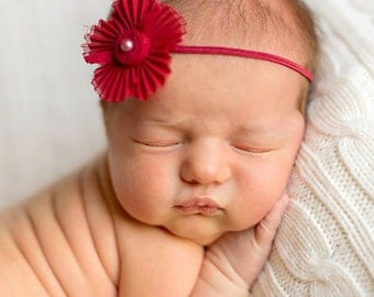 newborn photography prop-baby photo prop, dark red rose skinny elastic halo headband fabric flower bead,baby shower gift,spring headband