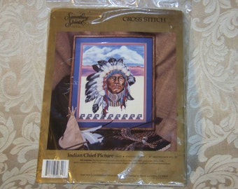 Indian Chief Picture #50642  Stamped Cross Stitch Kit by Candamar Designs / Something Special 1991