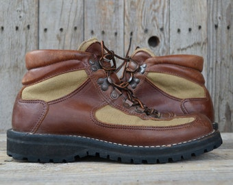 Vintage Danner Hiking Boots for Eddie Bauer Canvas and Leather Goretex Hiking Boots, Mens 8