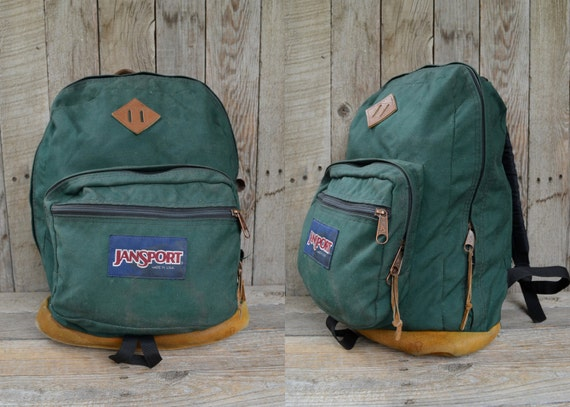 Vintage Jansport USA Forest Green Cordura and Leather Daypack