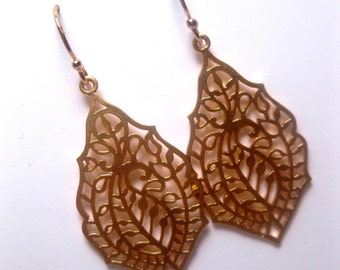 Fancy Abstract Filigree Dangle Earrings With 14k Gold