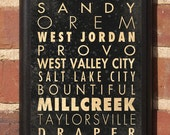Cities of Utah Subway Scroll Vintage Style Wall Plaque / Sign