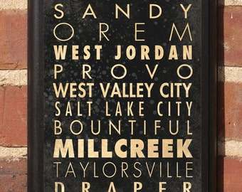 Utah UT Cities Wall Art Sign Plaque Gift Present Personalized Color Custom Home Decor Vintage Style Provo Salt Lake Ogden Logan Classic