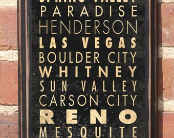 Nevada NV Cities Wall Art Sign Plaque Gift Present Personalized Color Custom Home Decor Vintage Style Las Vegas Henderson Reno Antiqued