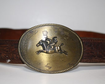 Vintage Western Brass Rodeo Rider Buckle Distressed Leather Belt Size 40 41 42 43 44