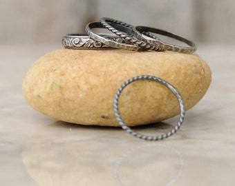 Boho Stackable Rings - Thin Sterling Silver Stacking Ring Set - 5 Stacking Ring Set - Bohemian Stacking Ring Set