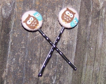 Brown Owl with Baby Blue Owl Button Bobby Pins
