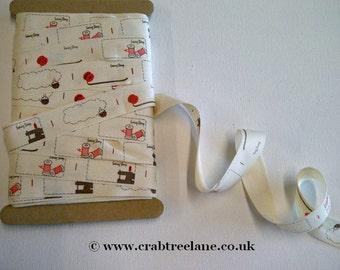Sewing Label Printed Ribbon - 20mm - Per Metre - Cream Printed Cotton - Retro Craft Sew Trim