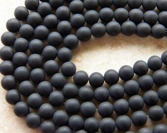 8mm Matte Black Onyx Frosted Round Gemstone Beads, Half Strand (INDOC685)