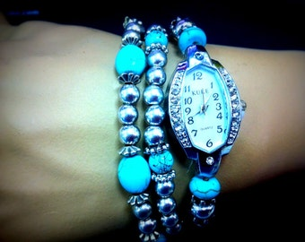 perfect womens watch with 2 bracelets ,Beaded with turquoise stone watch.gemstone watch.Wrap Watch .stone color agate bracelet