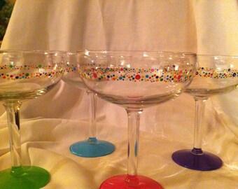 Hand Painted Margarita Glasses with Confetti Design