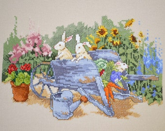Spring Summer Garden Scene Finished Completed Cross Stitch Handmade